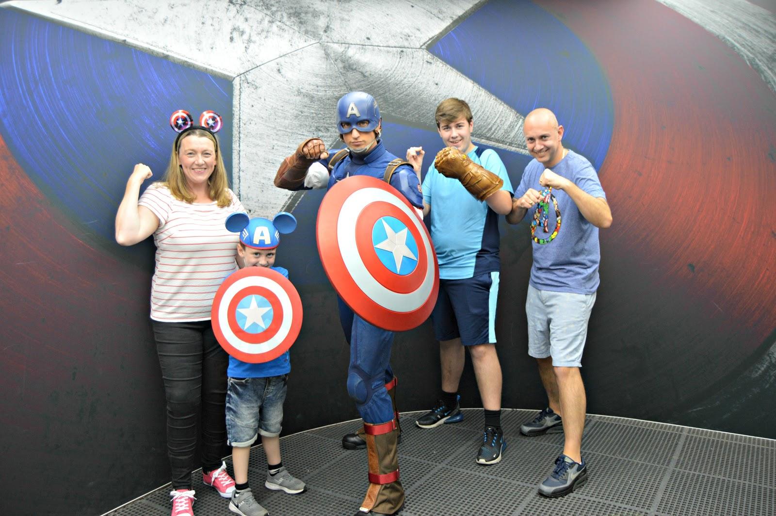 Family meeting captain america at Disneyland Paris