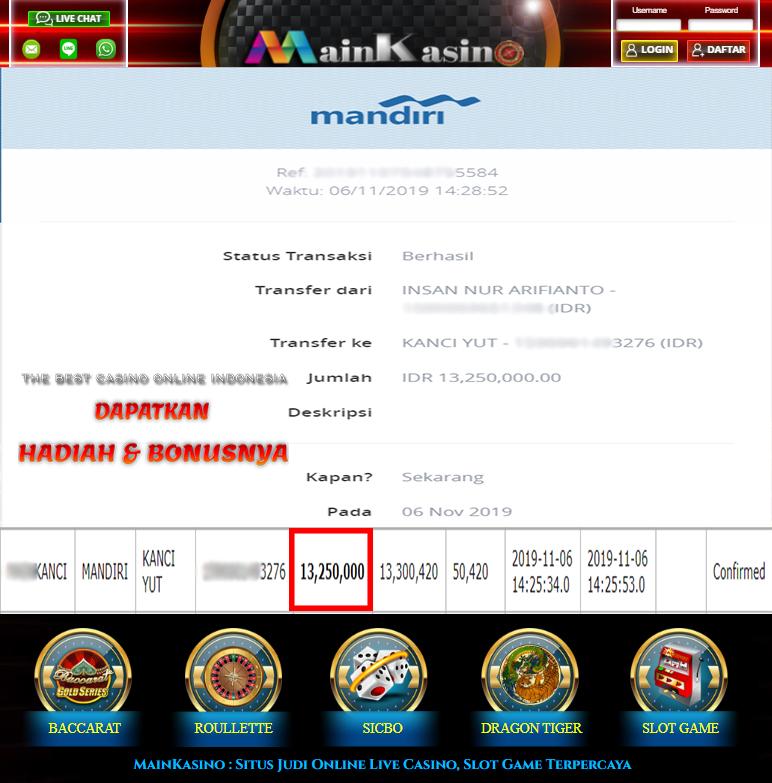 Selamat Kepada Member Setia MAIN KASINO Withdraw RP 13.250.000
