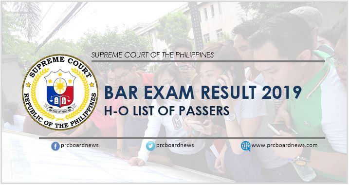 H-O Passers: Bar Exam Results 2019