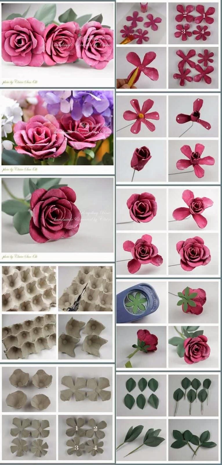 Adesivo De Boteco Para Editar ~ Como fazer flores de reciclagem de caixa de ovos