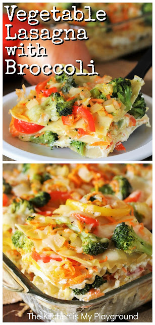 Vegetable Lasagna with Broccoli ~ Loaded with shredded carrot, bell pepper strips, broccoli florets, and three kinds of melty cheese, this veggie lasagna is loaded with fabulous flavor! It's a super tasty meatless dinner main dish.  www.thekitchenismyplayground.com