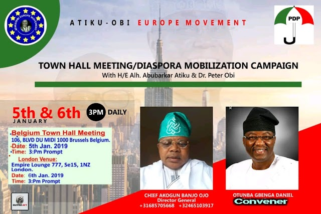 2019 Presidential Election: Nigerians In Diaspora To  Host Atiku, Obi, OGD Others In Brussels, London