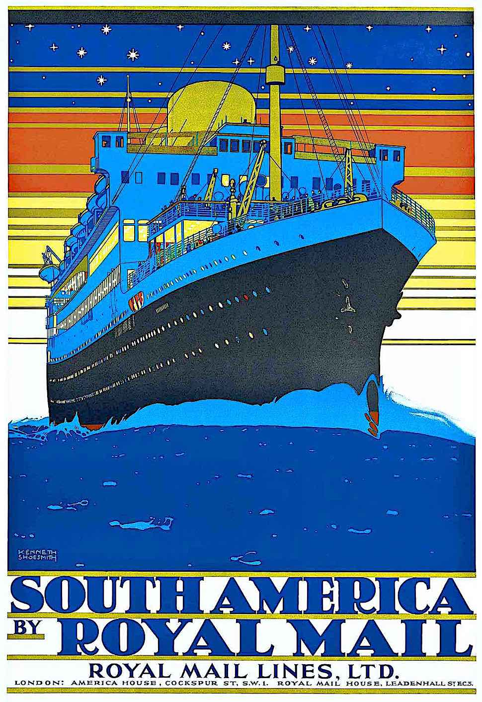 a Kenneth Shoesmith poster for Royal Mail Lines to South America in red blue and yellow