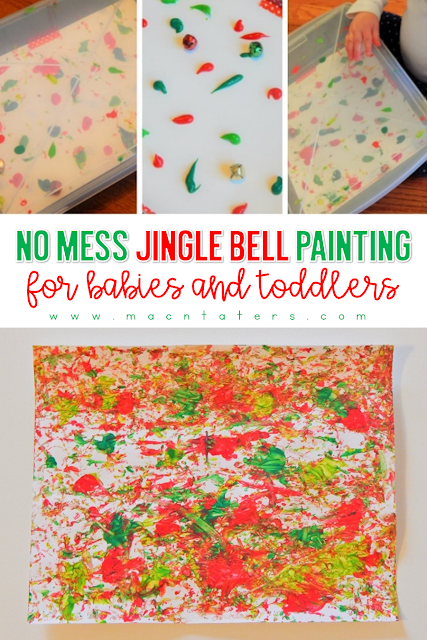Christmas activities for babies and toddlers Jingle Bell Painting-This No mess activity is the perfect Christmas activities for babies and toddlers without the mess. No mess sounds heavenly during the busy holiday season doesn't it?
