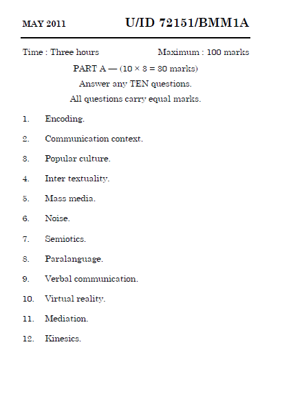 BMM1A Introduction to Communication May 2011 Question