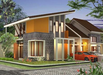 model rumah minimalis terbaru atap miring 2 lantai kondominium