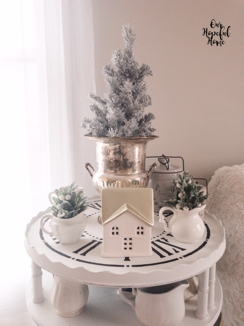 clock table silver bucket flocked tree ironstone creamers