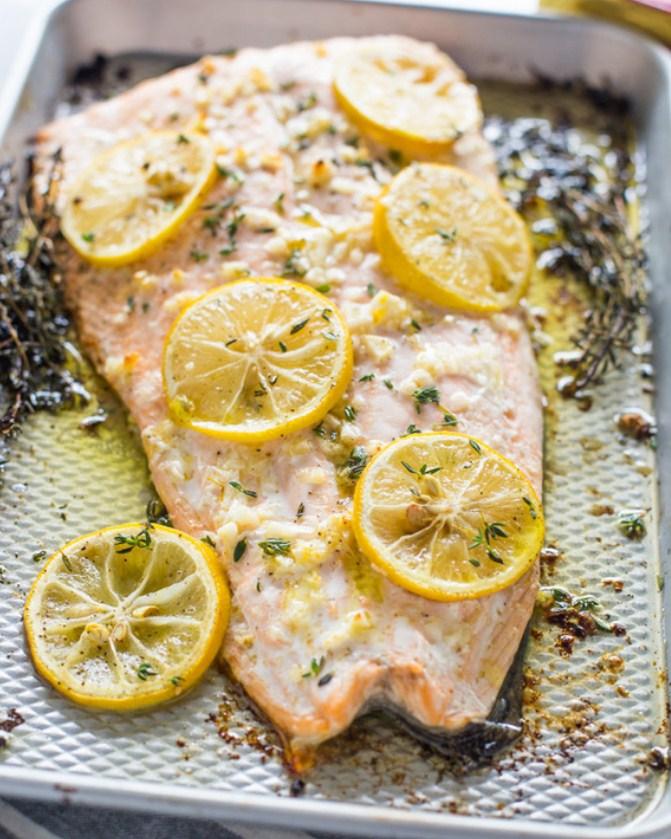 4 Ingredient Roasted Garlic Butter Salmon