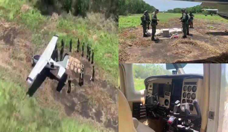 VIDEO, Golpe millonario al narco: SEDENA le arruinan el negocio incautaron aeronave con 450 kilos de cocaína en Chiapas