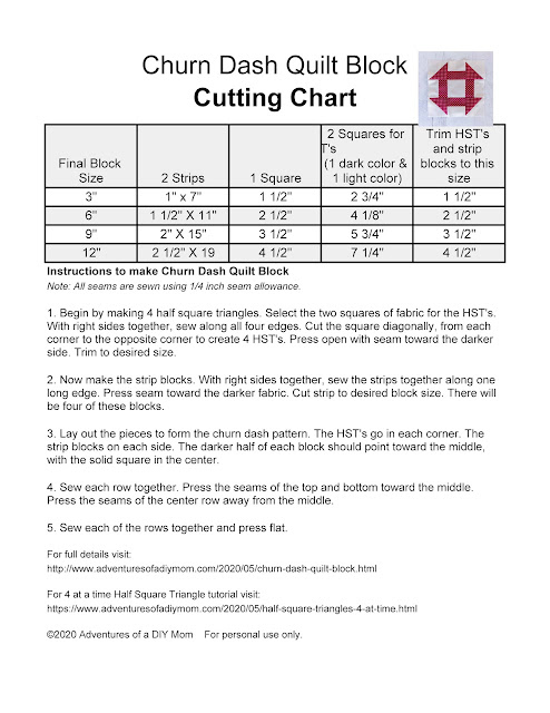 Cutting chart and instructions to make 4 different sized churn dash quilt blocks