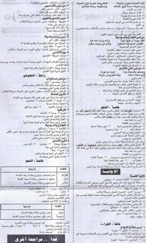 مذكرة مادة اللغة العربية