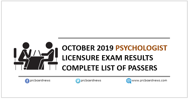 RESULT: October 2019 Psychology board exam list of passers