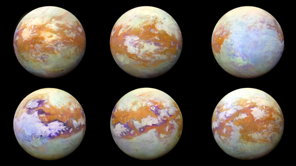 Infrared images of Saturn's moon Titan that were taken by NASA's Cassini spacecraft over a span of 13 years.