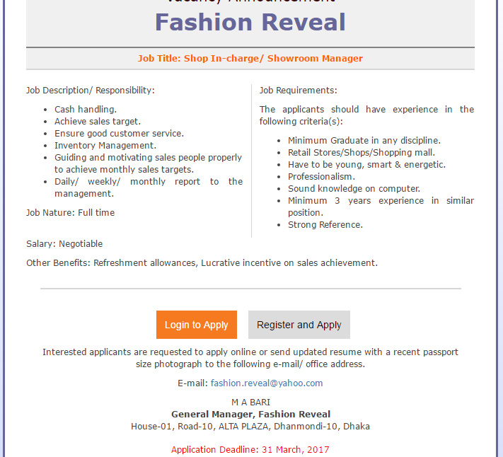 Fashion Reveal - Post Name Shop In-charge/ Showroom Manager - Job