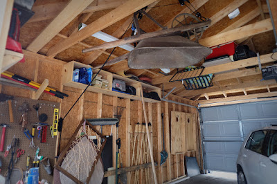 garage storage wheelbarrow hang ceiling