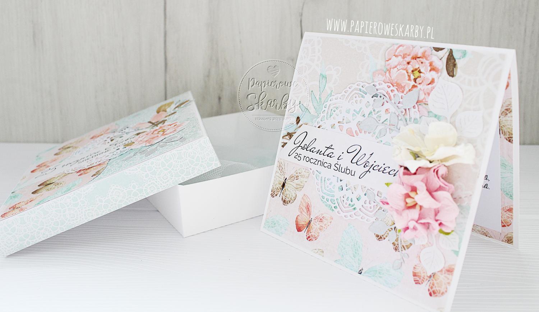 kartka scrapbooking cardmaking card cards kartki handmade rękodzieło ręcznie robione robiona w pudełku pamiątka rocznica ślubu 25 rocznica ślub srebrne gody prezent