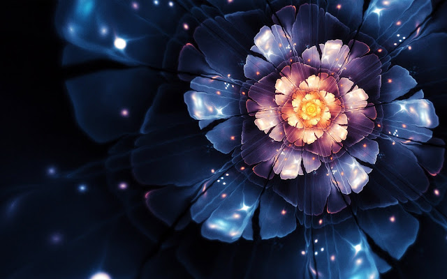 wallpaper 3d abstract flower 4k wide