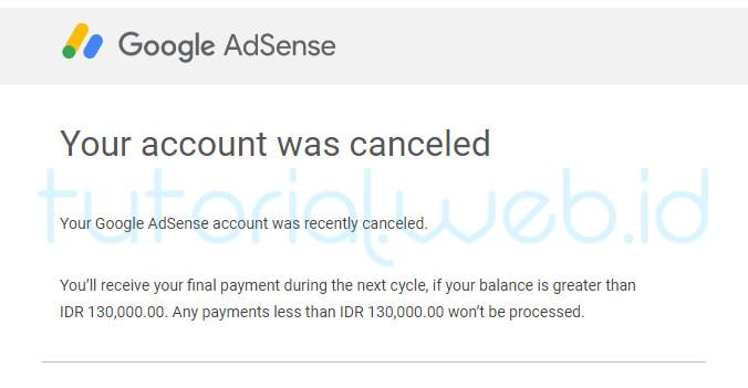 Cara Menghapus Akun Adsense pada gmail 7 Your account was canceled