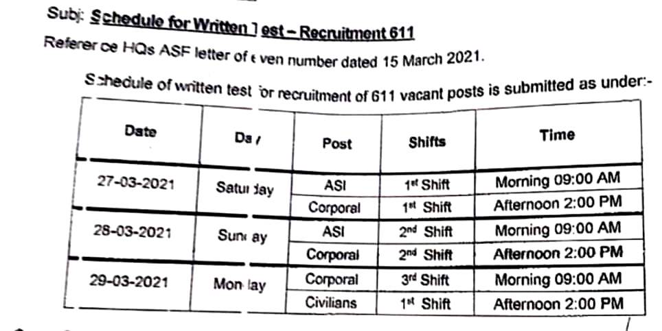 Pakistan Airport Security Force ASF 2021- ASF Written Test Date Announced -
