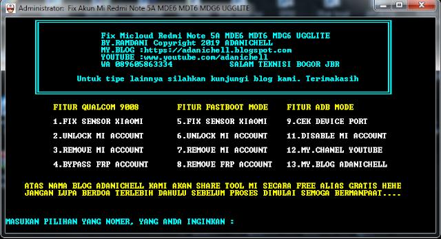 Cara Unlock Micloud Redmi Note 5A MDE6 MDT6 MDG6 UGGLITE
