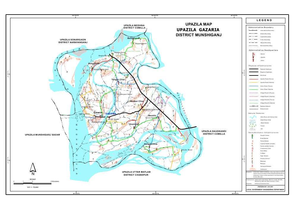 Gazaria Upazila Map Munshiganj District Bangladesh