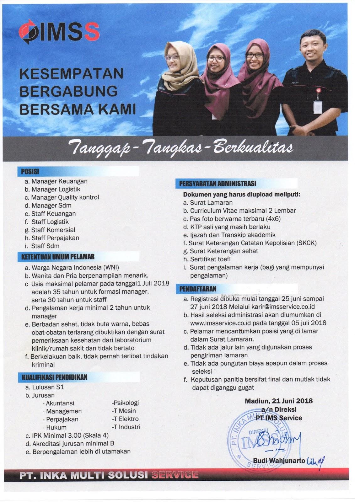 Lowongan Kerja Lowongan Kerja Pt Inka Multi Solusi Service Pt Inka Persero Group