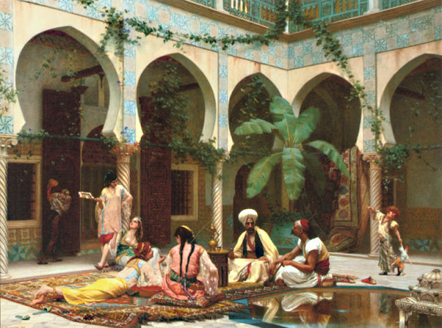 sultan with his family inside harem