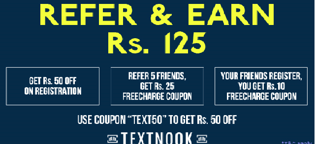 Get 25 RS. Freecharge Freefund Code from Textnook 1