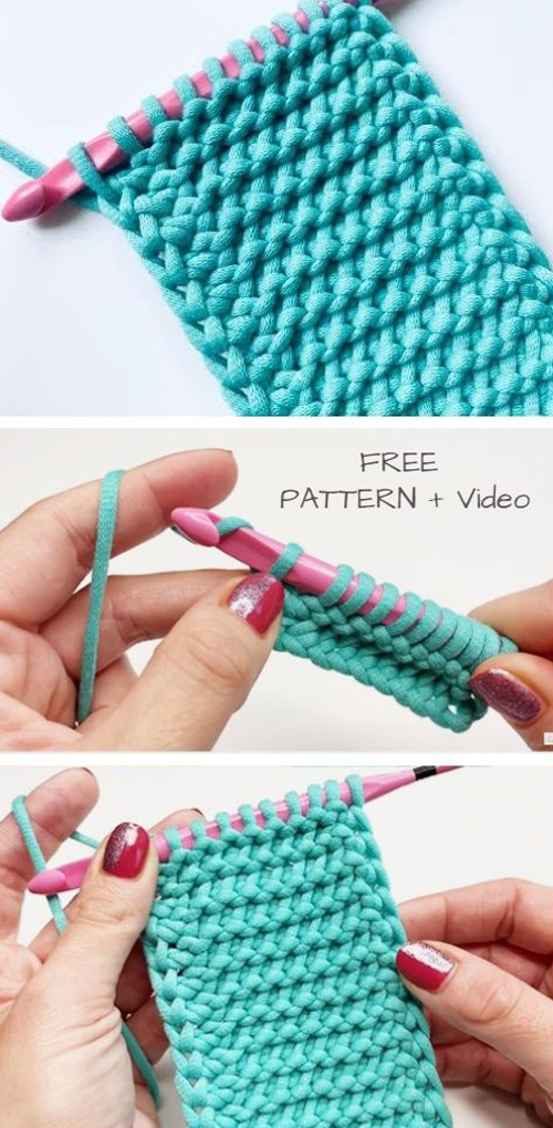 Easy Tunisian Crochet Purl Stitch Free Crochet Pattern + Video