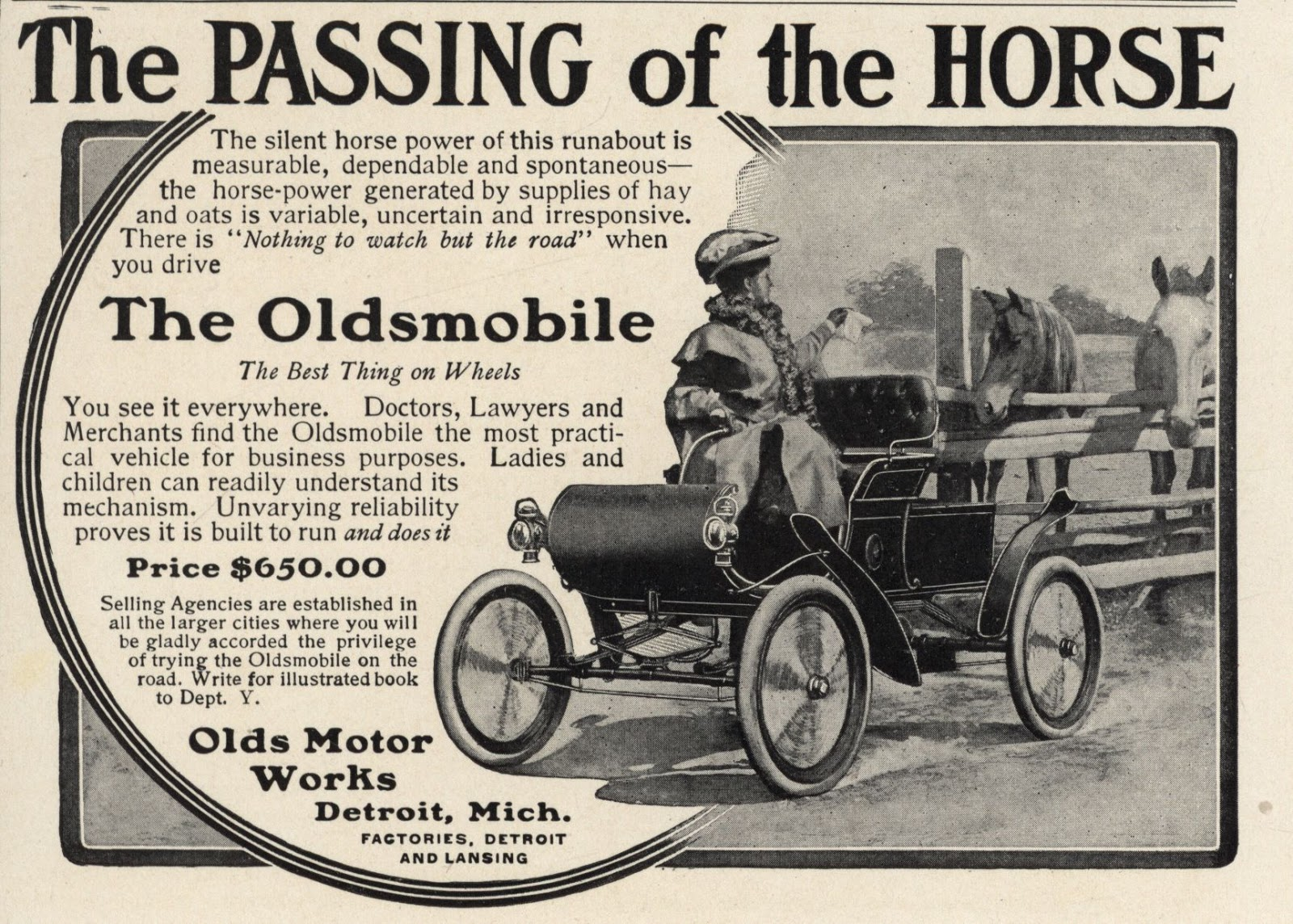 Another battle was between the new machine and the old-fashioned horse,  portrayed by some of the early carmakers as temperamental, unreliable, ...