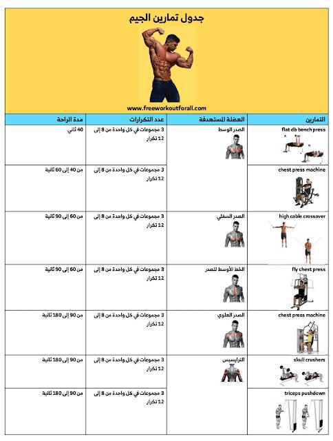 جدول تمارين كمال الاجسام للمبتدئين بالصور كامل