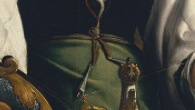 """Apron tie detail from """"Portrait of A Lady Spinning""""  by van Heemskerck c. 1531"""