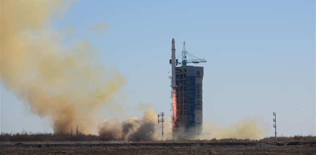A Long March-2D rocket carrying two satellites for Saudi Arabia blasts off from the Jiuquan Satellite Launch Center in northwest China, Dec. 7, 2018. Credit: Xinhua/Hao Wei
