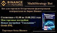 MultiStrategy Bot для биржи Binance  -  статистика торговли ботом c 01.08  по 10.08.2021 + настройки