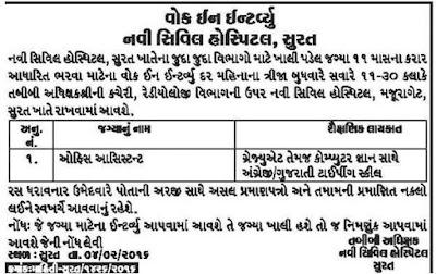 New Civil Hospital Surat Office Assistant Recruitment 2016