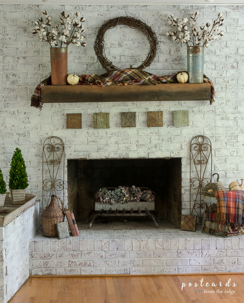 Lots of creative ways to add a rustic French farmhouse style to your fall fireplace.