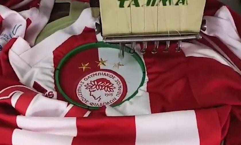 Ολυμπιακός: Δείτε πώς ράφτηκε το 3ο αστέρι στη φανέλα της ομάδας βόλεϊ (vid)