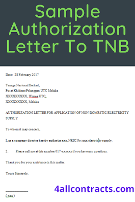 Authorization letter for application letter of non domestic electricity supply