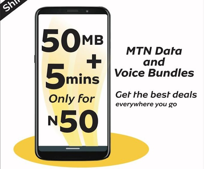 MTN data And Voice Bundles. Get 50MB + 5MINS To Call Any Network For N50 Only