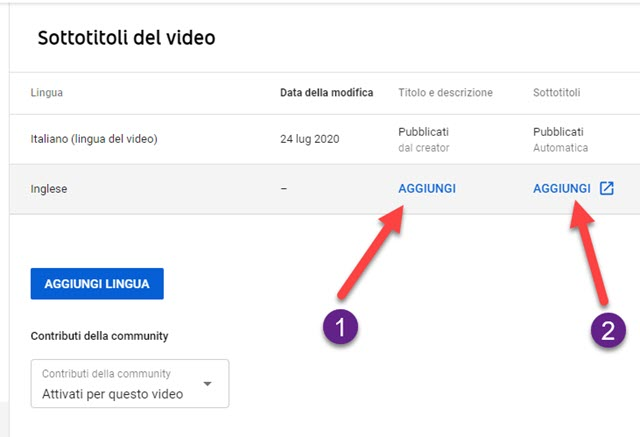 aggiunta di nuove lingue ai video di youtube