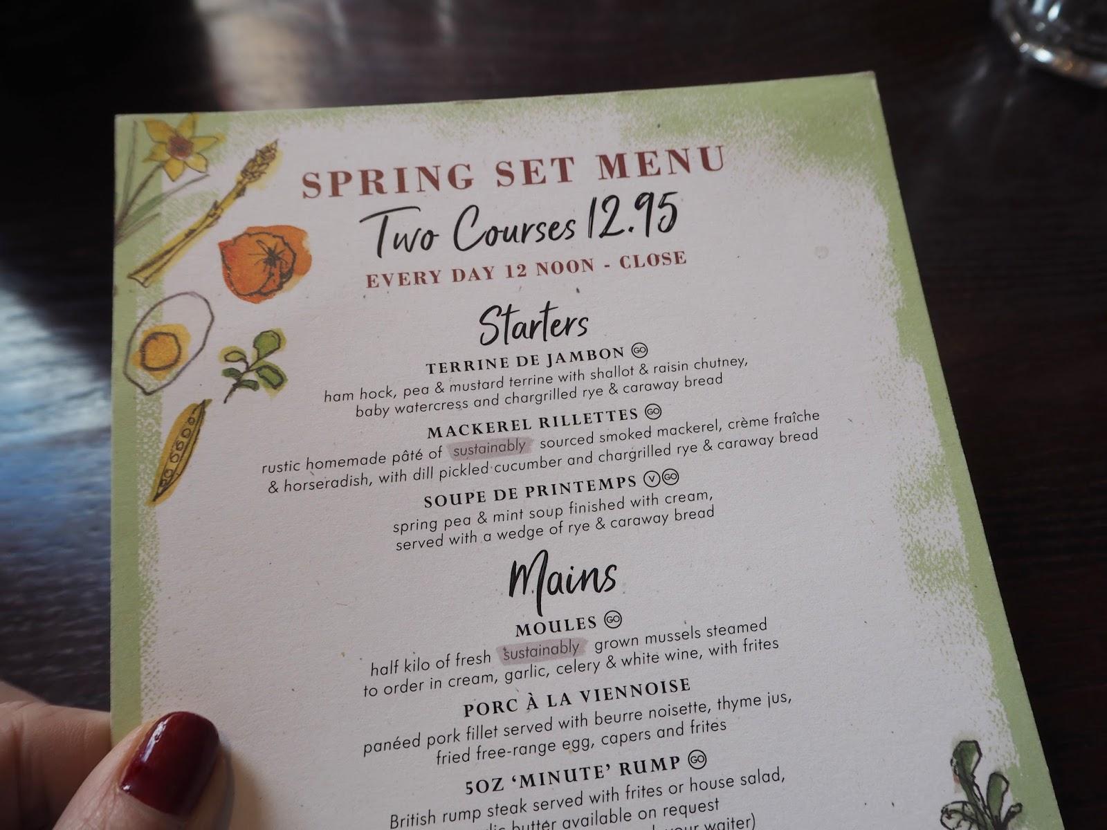 Review of Cafe Rouge spring set menu
