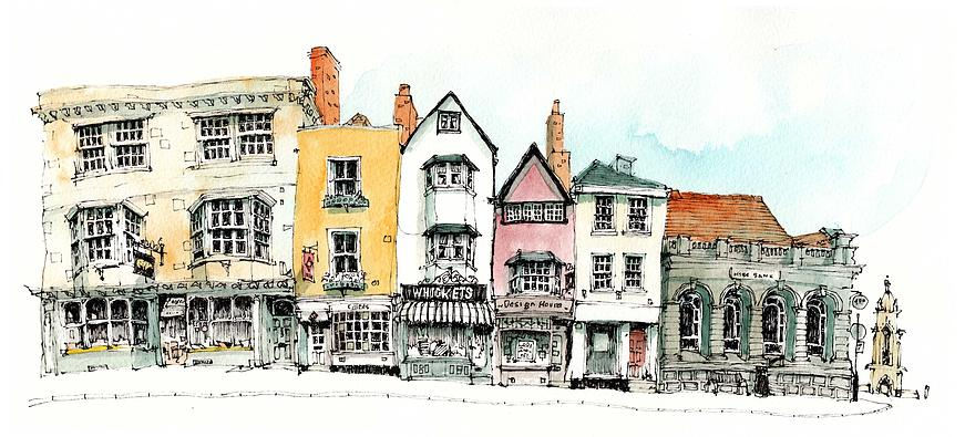10-UK-Sadler-Street-Chris-Lee-Charming-Architectural-wobbly-Drawings-and-Paintings-www-designstack-co