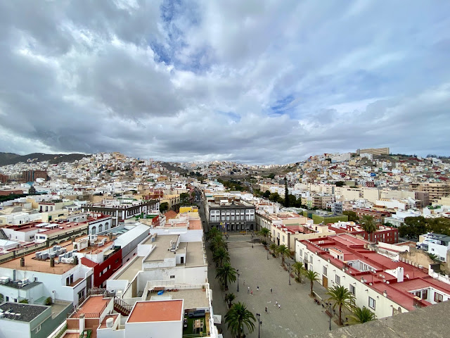 View over the plaza from the Cathedral in Las Palmas, Gran Canaria, Spain