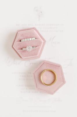 wedding rings in pink velvet box