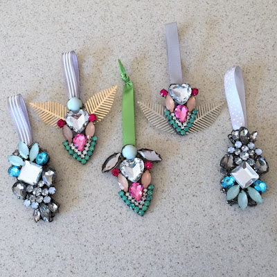 Holiday ornaments made from old broken jewelry