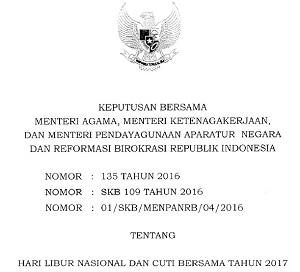 SKB 3 Menteri Tentang Hari Libur Nasional dan Cuti Bersama Tahun 2017