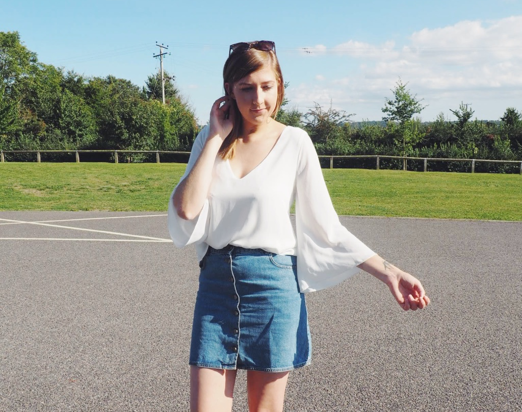zarablouse, bellsleevedblouse, creamblouse, denimbuttonthrouskirt, denim skirt, gingerslingbackloafers, nextshoes, wiw, whatimwearing, asseeononme, asos, lotd, lookoftheday, ootd, outfitoftheday