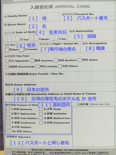 台湾 入国カード記入