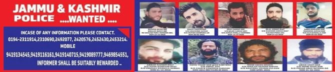 'Informer Will Be Rewarded': J&K Police Release List of 9 Wanted Terrorists, Announce Cash Reward
