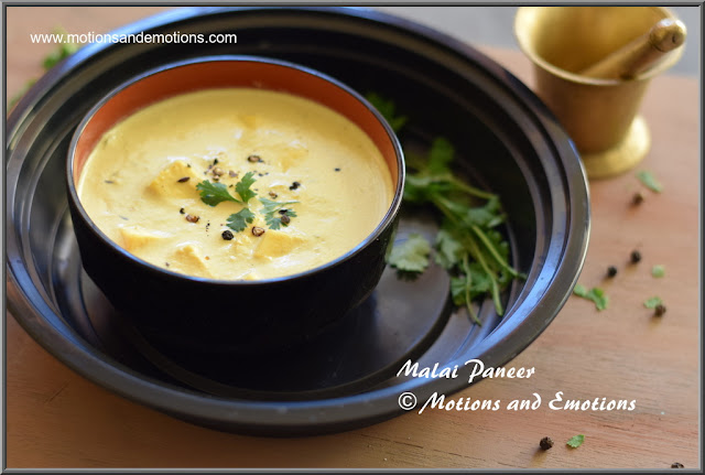 Paneer cooked in fresh cream